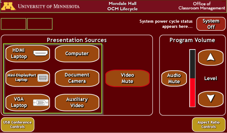 touch panel with presentation sources highlighted