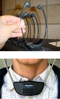Two photos of the assisted listening receiver, one in the charging station and one worn by a person in front of their neck.