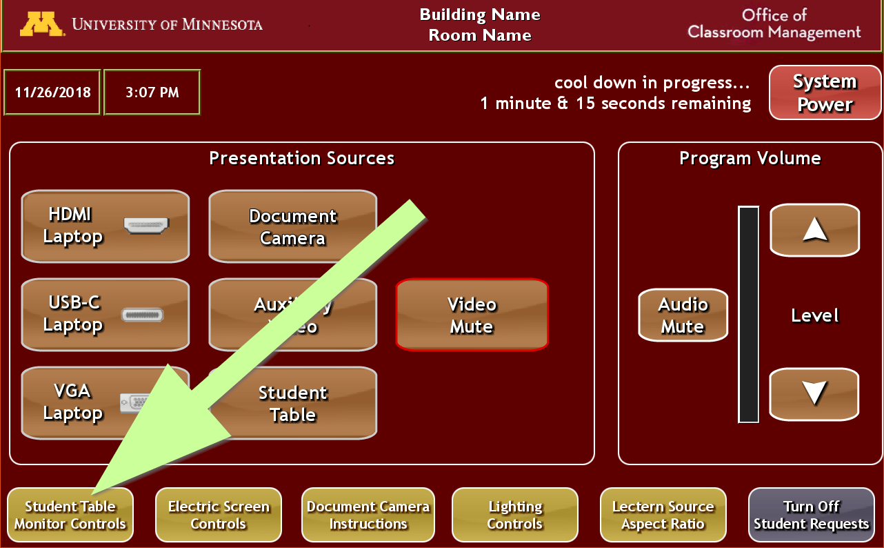 touch panel controls, showing the sub-menu for student table control in the lower left corner