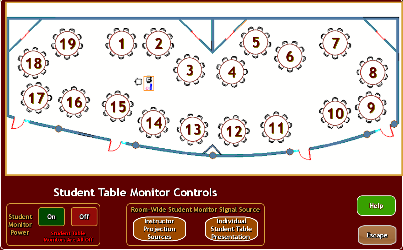 touch panel control for student table, showing layout of the room