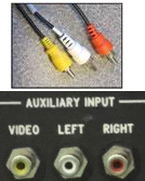 A photo of auxiliary cables and the inputs on the equipment rack