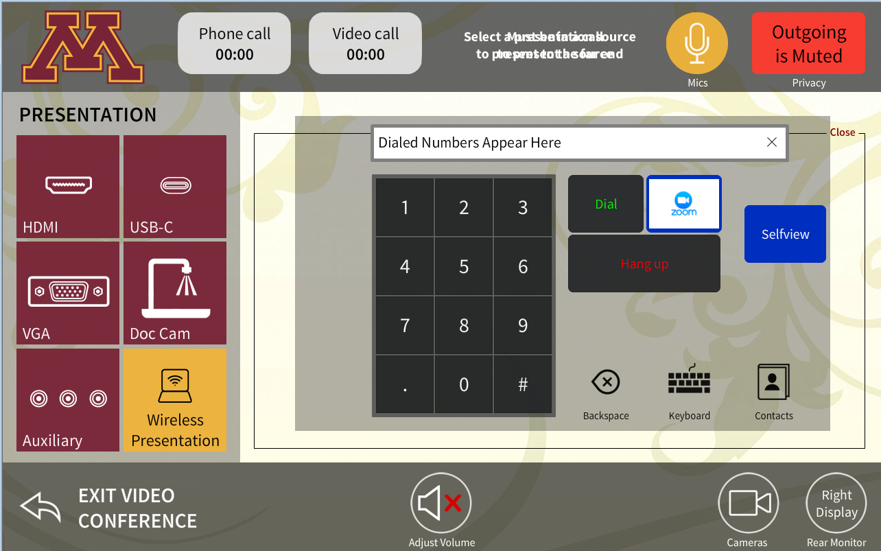 Screenshot of video conferencing touchscreen controls